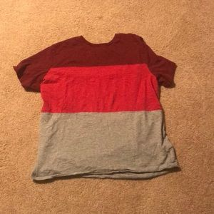 Red and Grey Color Block Tee Mens